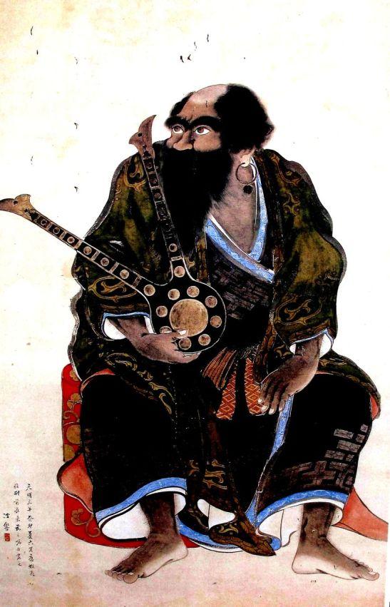 Líderes ainu de la Batalla de Kunashir-Menashi, retratos realizados por el pintor samurai Hakyo Kakizaki. La serie de doce retratos se llama Ishu retsuzo.