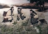 Mujeres ainu extrayendo oobayuri de la tierra