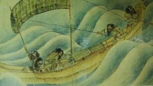 Pescadores ainu en itaomacip (barca)