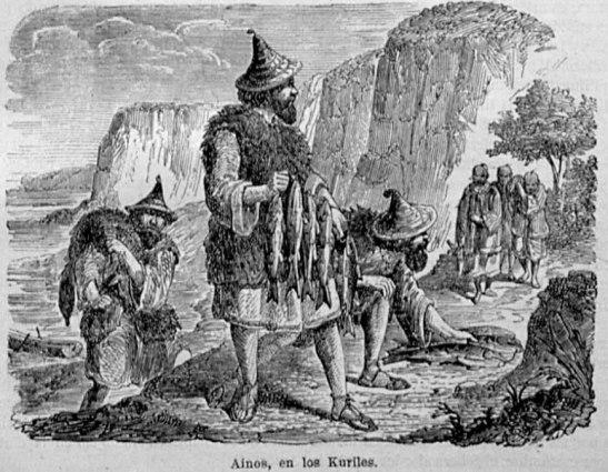 Grabado de un grupo ainu en las islas Kuriles, publicado en 1863 en la revista ilustrada El Museo de las Familias