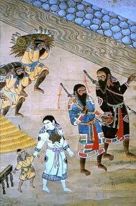 Familia ainu con atuendo festivo