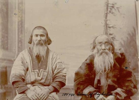 Hombres ainu retratados por Bronisław Piłsudski.