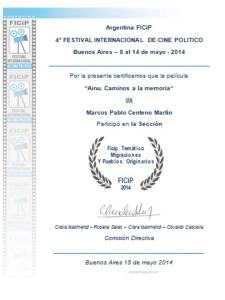 Certificado Festival Cine Político Argentina