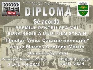 """Diploma Mejor Director """"Ainu. Caminos a la memoria"""""""