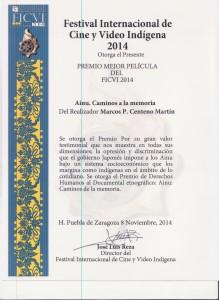 Diploma Premio FICVI